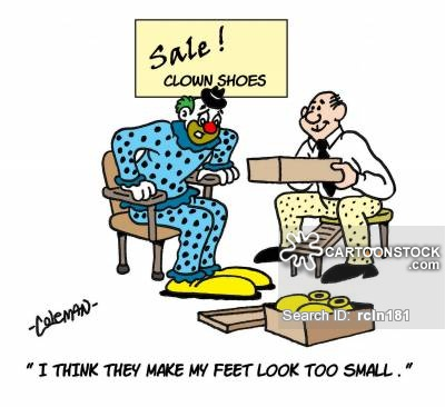 clown trying on shoes at a shoe store