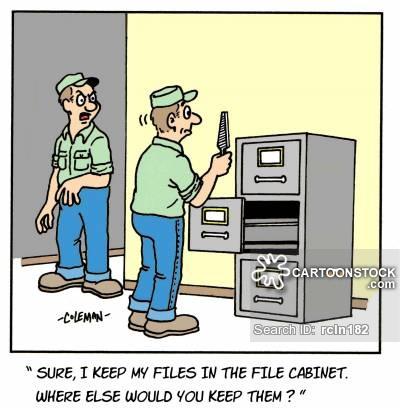 Cartoon about a carpenter putting away his tools
